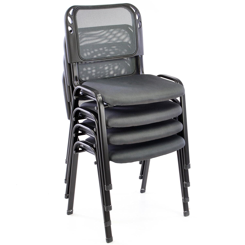 Nexos 2er Set Bürostuhl Konferenzstuhl Besucherstuhl Grau Gepolsterte Sitzfläche stapelbar 52,5 x 45 x 80 cm Stapelstuhl Metallrahmen Schwarz Nexos Trading