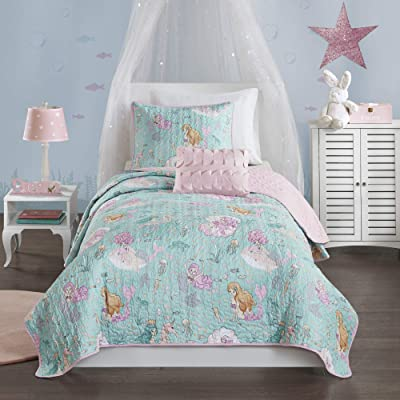 Mi Zone Kids Darya Reversible Cotton Fill Mermaid Clam Shell Sea Ocean Whale Fish Printed Ultra-Soft Down Alternative Hypoallergenic Season Coverlet Quilts Bedding-Set, Full/Queen, Aqua/Pink: Home & Kitchen