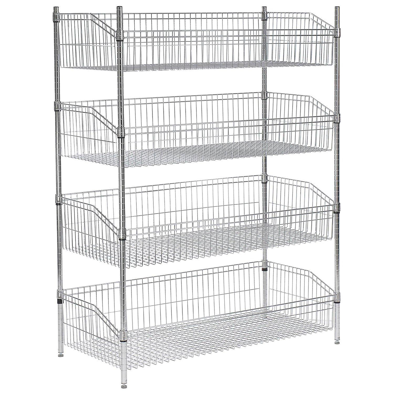 (4) Basket Wire Shelf, 48''W x 24''D x 63''H by Global Industrial