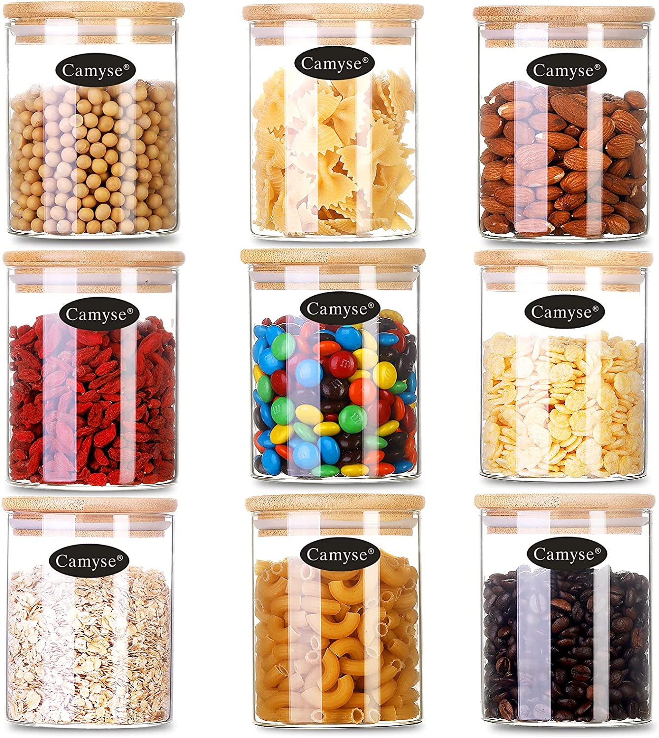 Camyse Glass Jars with airtight lids for Food Storage, Glass Food Canisters for Home and Kitchen, BPA Free Containers with Bamboo Lids for Candy, Rice, Coffee, Tea, Cookies, Sugar, Flour,Nuts,Honey (Set of 9, 20 oz(9 Pcs))