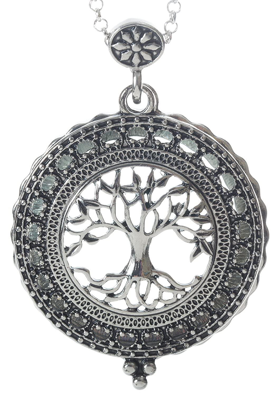 Tree of Life 4x Magnifier Magnifying Glass Sliding Top Magnet Pendant Necklace