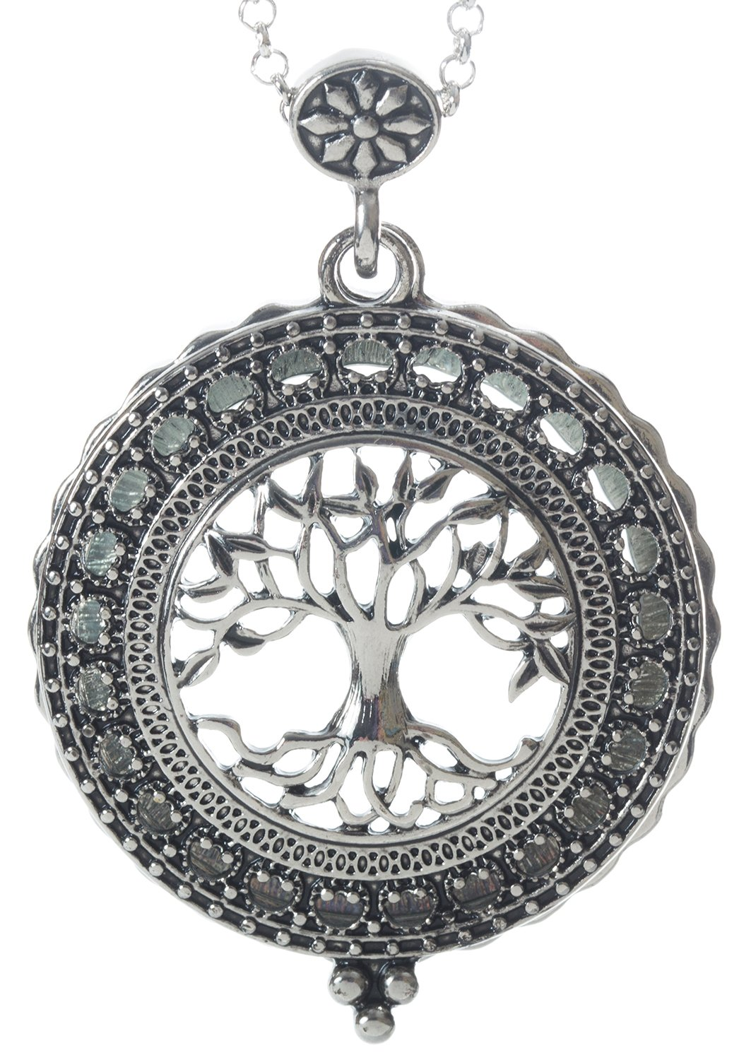 Tree of Life 4x Magnifier Magnifying Glass Sliding Top Magnet Pendant Necklace, 30''