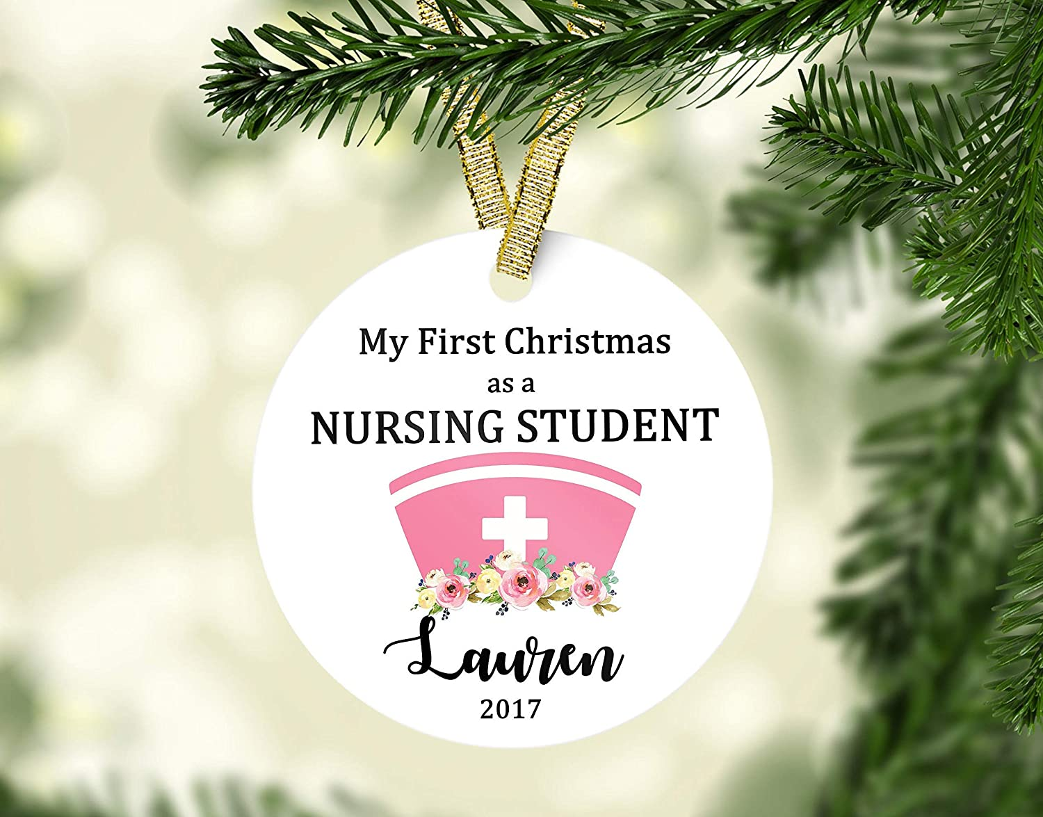 Amazon.com: Fhdang Decor My First Christmas as a Nursing Student ...