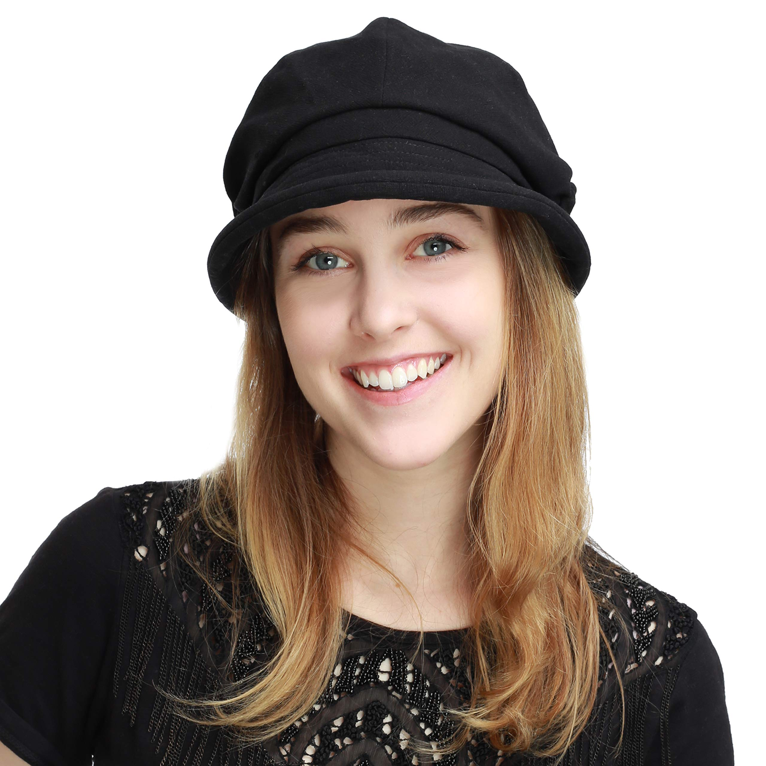 Womens Newsboy Cabbie Beret Cap Cloche Visor Hats (Linen/Cotton- Black)