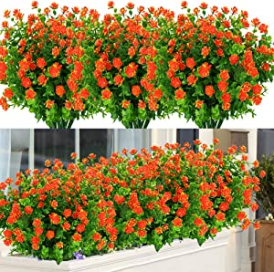 ArtBloom 6 Bundles Outdoor Artificial Flowers UV Resistant Fake Boxwood Plants, Faux Greenery for Indoor Outside Hanging Plants Garden Porch Window Box Home Wedding Farmhouse Decor (Orange Red)