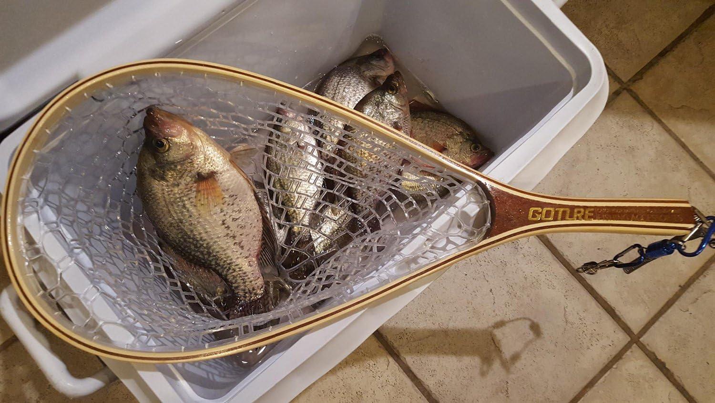 Goture Fliegenfischen Kescher Angeln Kescher mit Holzgriff Unterfangskescher Holzrahmen und Weichgummi-Mesh