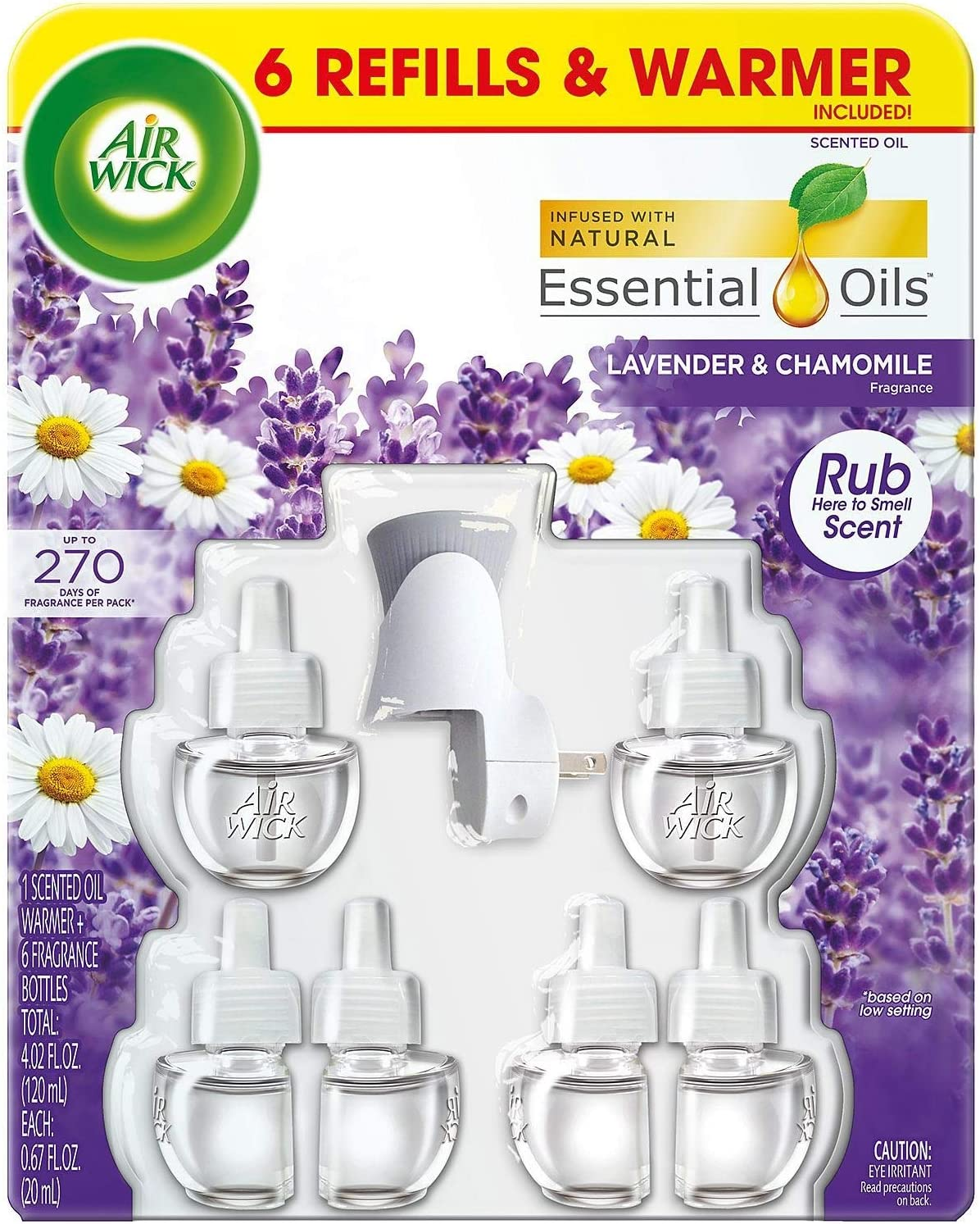 Air Wick Lavender & Chamomile 6 Scented Essential Oils + 1 Warmer