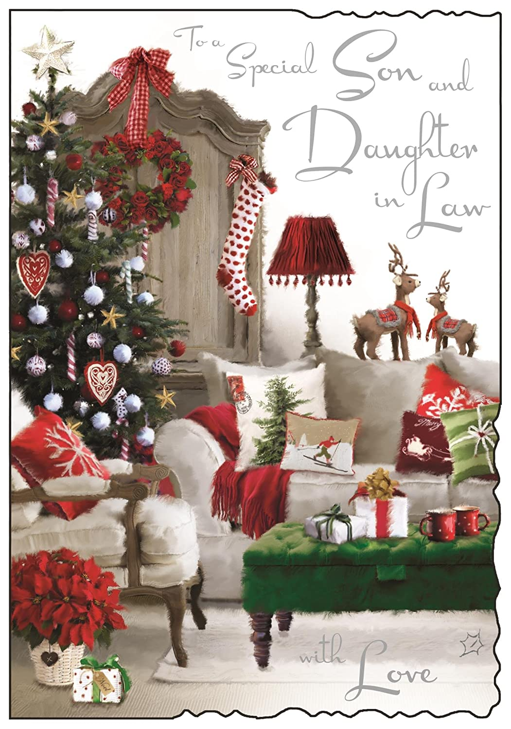 Christmas Card (JJ5594) Special Son and Daughter in Law - Xmas Tree and Presents in Living Room - Velvet Wishes Jonny Javelin