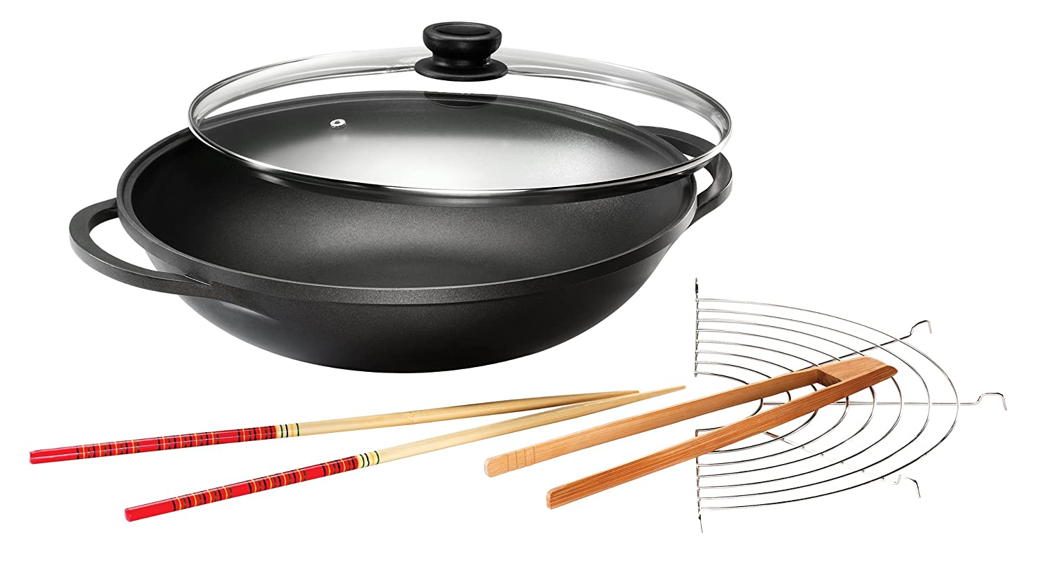 Karcher Wok Mai-Lin with Glass Lid and Accessories, Cast Aluminium with ILAG Non-Stick Coating, Diameter 36 cm 120292