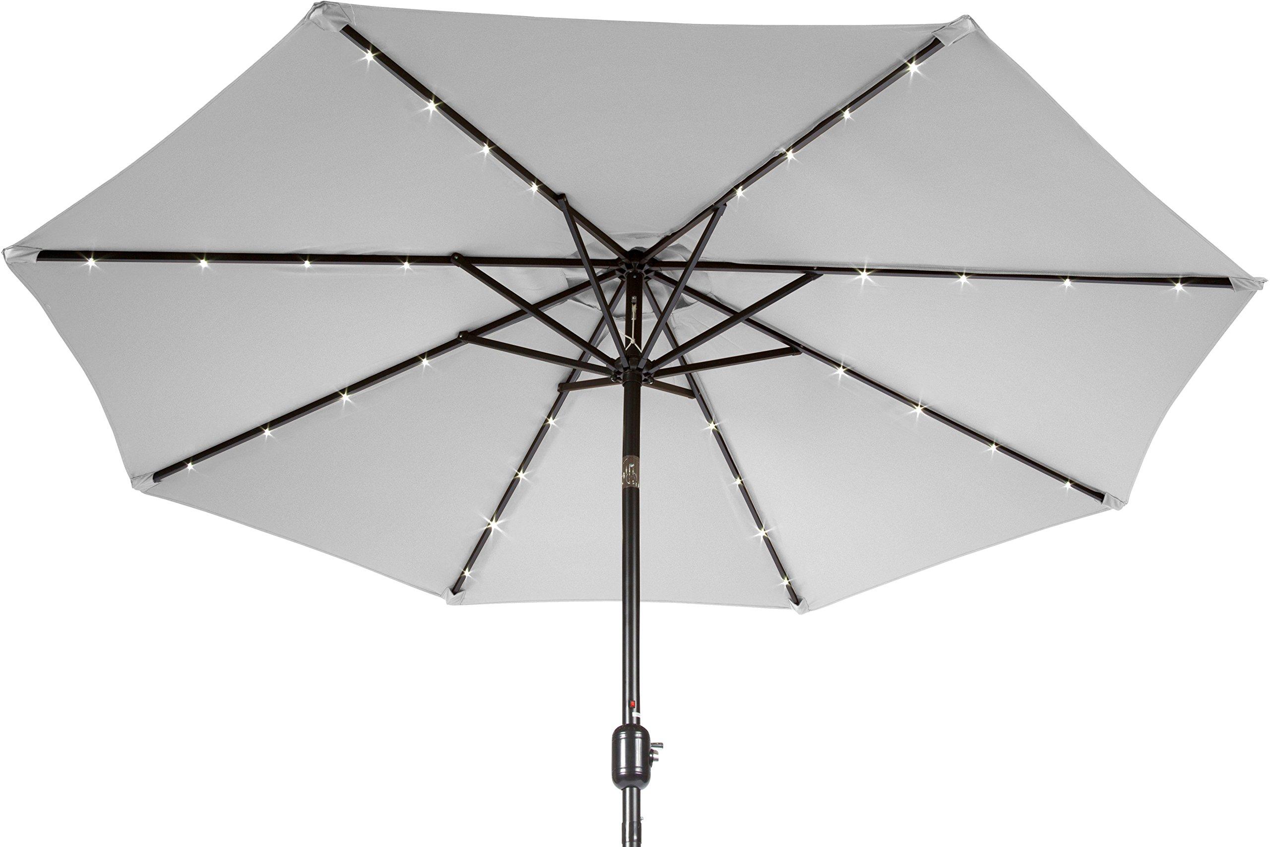 Trademark Innovations 7' Solar LED Patio Umbrella (Gray) - 7' diameter, crank operation, with tilt option 8 Steel ribs, each rib has 3 LED lights Fabric 180G Polyester with Black Steel Coating - shades-parasols, patio-furniture, patio - 813ltA H76L -