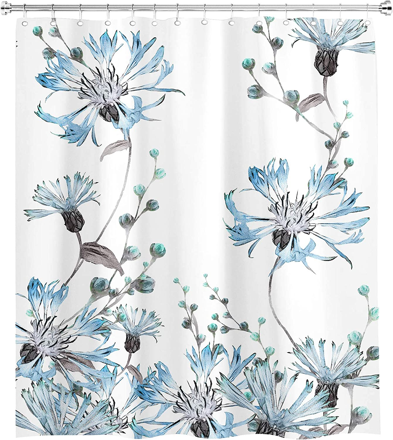SVBright Turquoise Plant Gray and Blue Flower Watercolor Shower Curtain Floral Spring Blossom Leaves 60Wx72L Inch Garden 12 Pack Hooks Polyester Waterproof Fabric Bathroom Bathtub Panels