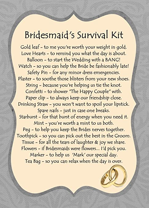 BRIDESMAIDS NOVELTY SURVIVAL KIT GIFT: Amazon.co.uk: Kitchen & Home