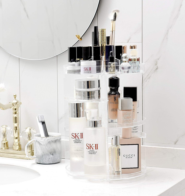 Organizador de cosméticos de maquillaje acrílico para baño 360 giratorio caja de almacenamiento ajustable multifuncional gran compartimento de almacenamiento para maquillaje cara crema cosméticos pinceles y pintalabios transparente: Amazon.es: Belleza