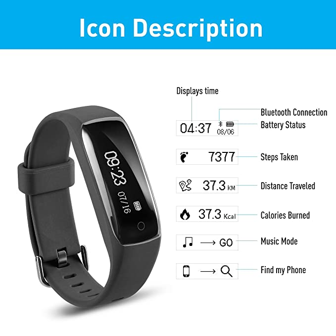 Amazon.com: Jarv RunFit Activity Tracker/Bluetooth Smartwatch Sweatproof Fitness Tracker for iPhone or Android Devices w/OLED Touch Display and 7 Day ...