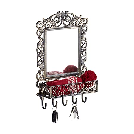 Amazing Relaxdays Wall Coat Rack With Mirror Cast Iron 5 Hooks Home Interior And Landscaping Ologienasavecom
