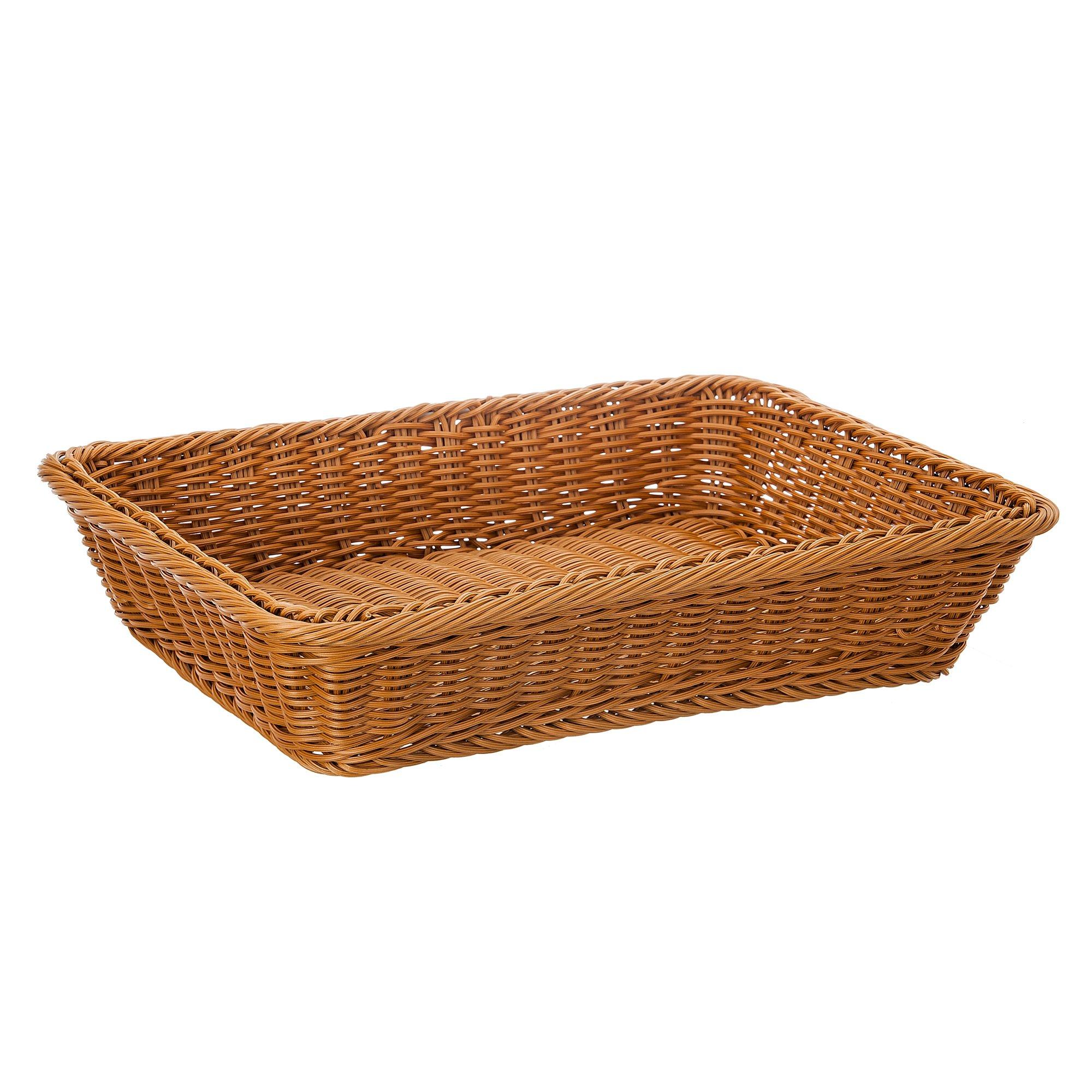 16'' Poly-Wicker Bread Basket, Long Woven Tabletop Food Fruit Vegetables Serving Basket, Restaurant Serving, Honey Brown