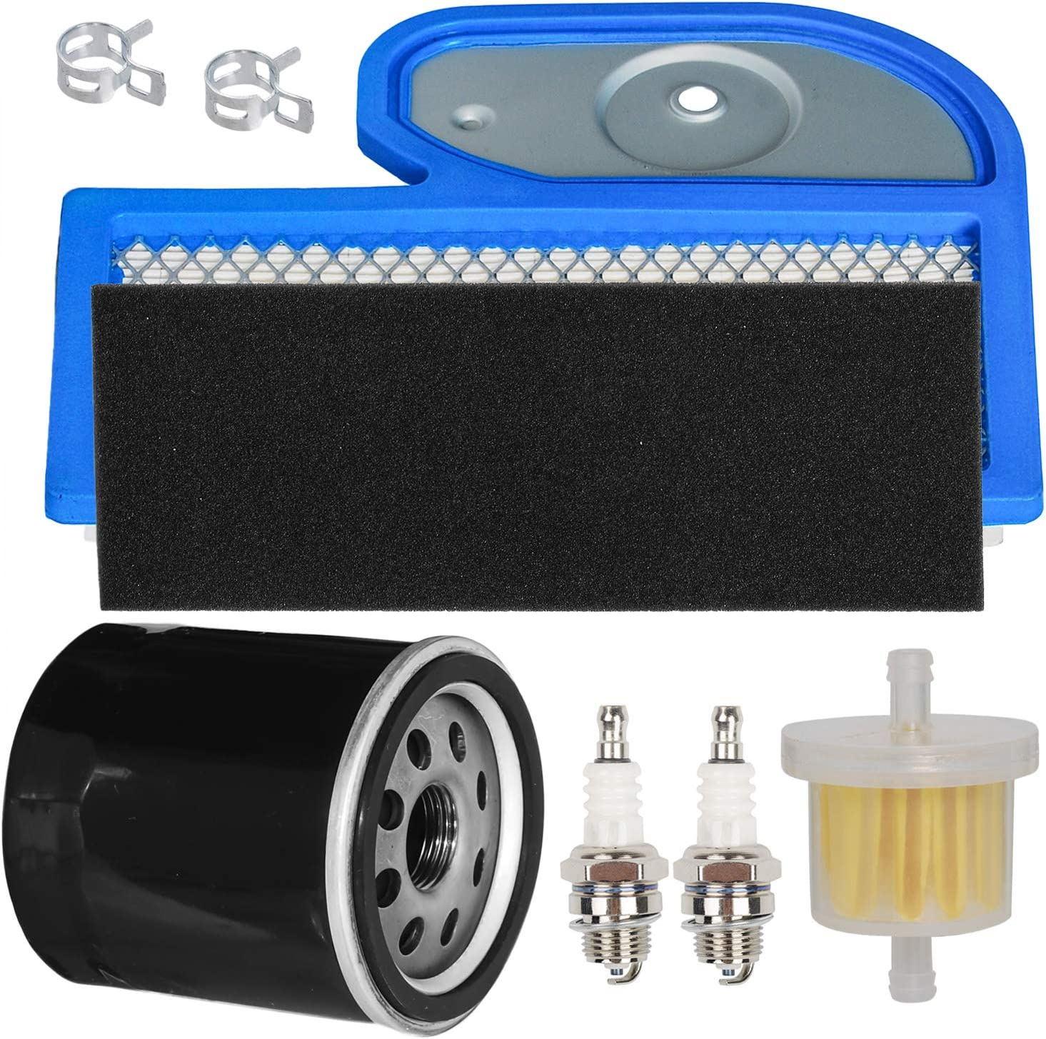 HIFROM Air Filter Pre Filter Cleaner Oil Filter Fuel Filter Spark Plug Kit Compatible with Kawasaki FH451V FH500V FH531V FH580V 17hp 19hp 23hp Replaces 11013-7002 49065-7010