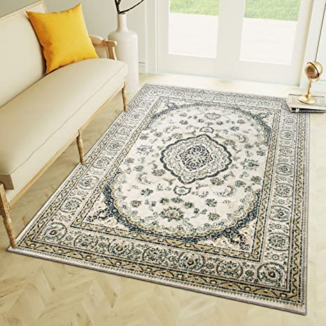 5 x 7 Area Rug Ivory & Blue Oriental Medallion Rug for Living Room Dining Room Bedroom Transitional Vintage Distressed Design [ 5 3