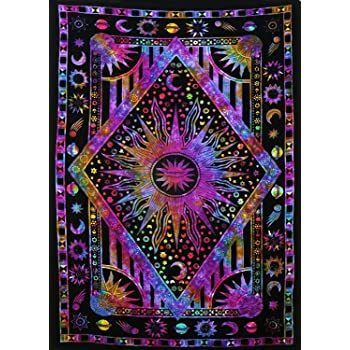 Psychedelic Wall Tapestry Indian Sun and Moon Tapestry Wall Hanging Tapestries Celestial Hippy Bedspread Indian Bedsheet Beach Throw Tapestries Mandala Tapestry Tie Dye Bohemian Tapestry By Rajrang. WHG08243