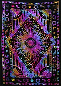 "Popular Handicrafts Kp786 Psychedelic Celestial Sun Moon Planet Bohemian Tapestry Wall Hanging Dorm Decor Boho Tapestries Hippie Hippy Purple tie dye Tapestry Beach Coverlet(54""x84"")"