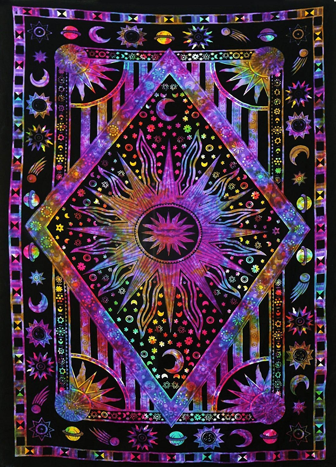 Popular Handicrafts Kp786 Psychedelic Celestial Sun Moon Planet Bohemian Tapestry Wall Hanging Dorm Decor Boho Tapestries Hippie Hippy Purple tie dye Tapestry Beach Coverlet(54''x84'')