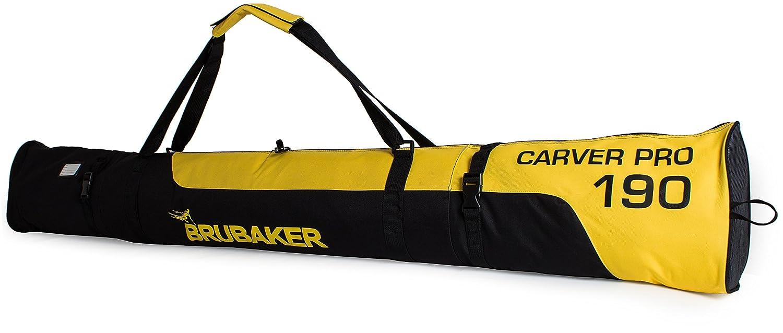 BRUBAKER 'Carver Pro 2.0' Bolsa Porta Esquís - Bolsa Deporte De Nieve Para Transportar Un Par De Esquís Y Bastones - Funda Reforzada - Amarillo / Negro - 170 cms.