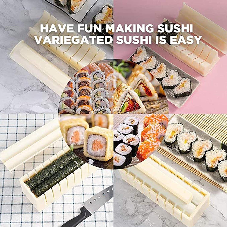 rollos de sushi Kit de fabricaci/ón de sushi para principiantes herramienta de sushi DIY para el hogar con 8 formas de molde de sushi juego completo de 10 piezas de pl/ástico para hacer sushi