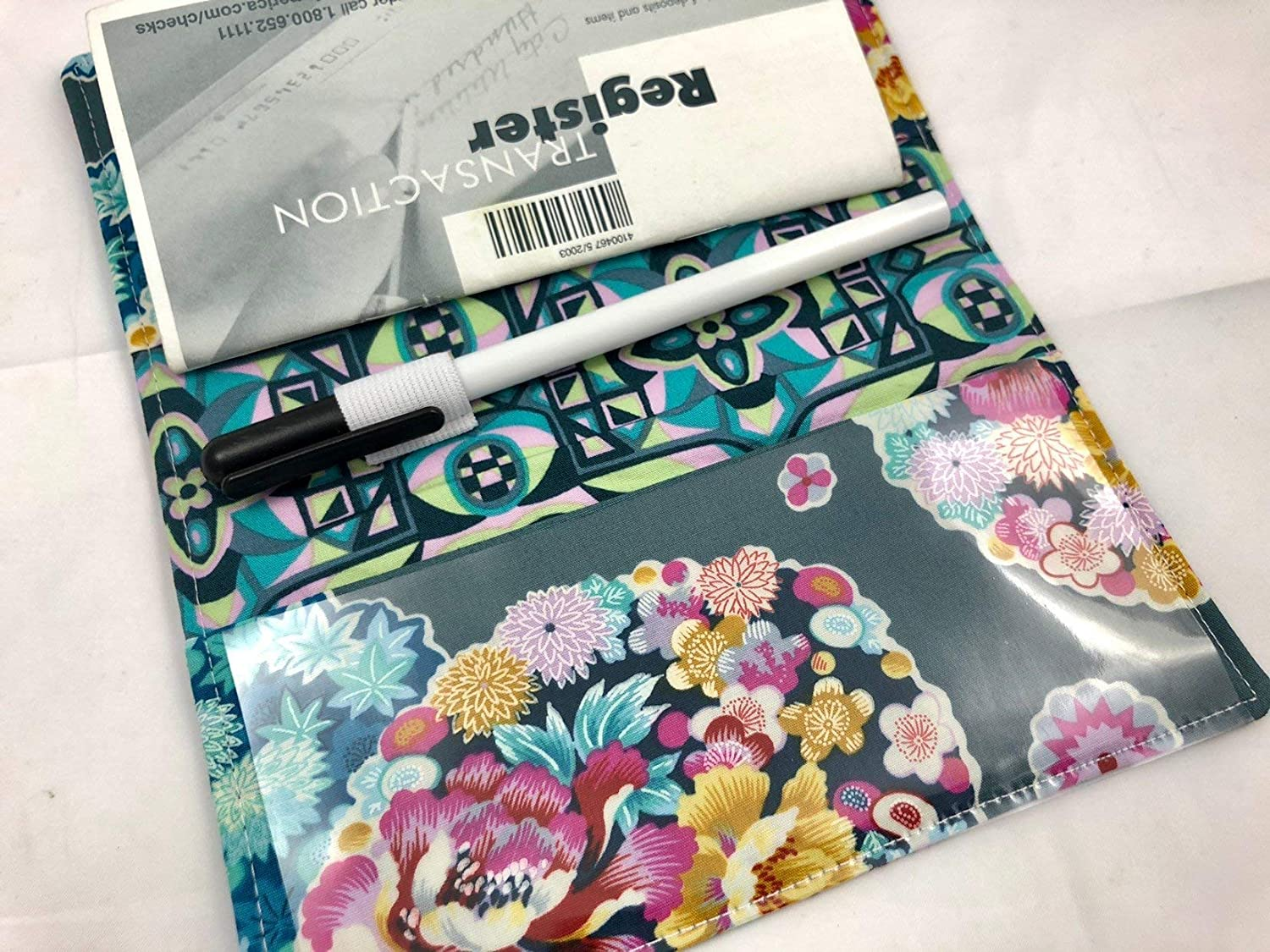 Duplicate Checkbook Cover Register with Pen Holder Cloud Blossom Heather