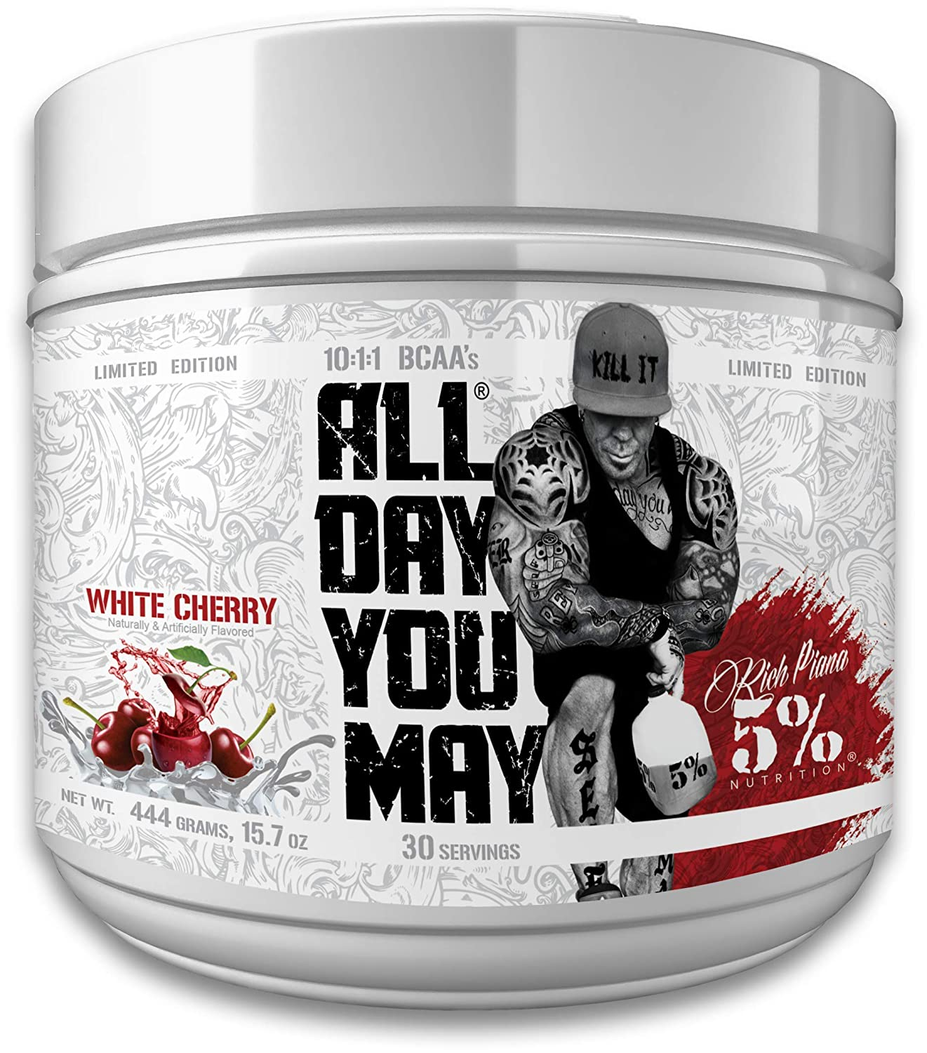 Rich Piana 5 Nutrition All Day You May BCAA Joint Recovery Drink LE White Cherry