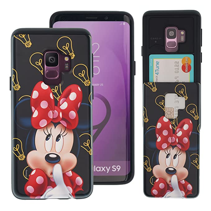 Galaxy S9 Case Disney Cute Slim Slider Cover : Card Slot Shock Absorption Shockproof Dual Layer Protective Holder Heavy Duty Bumper for [ Galaxy S9 ...