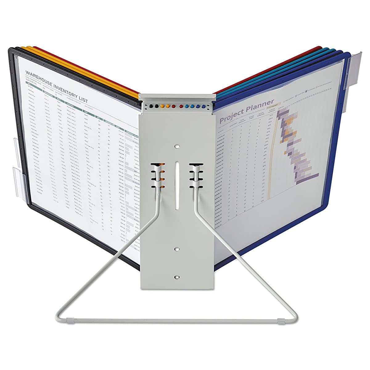 DURABLE INSTAVIEW 10-Panel Desktop Reference System, Assorted Color Borders (561200)