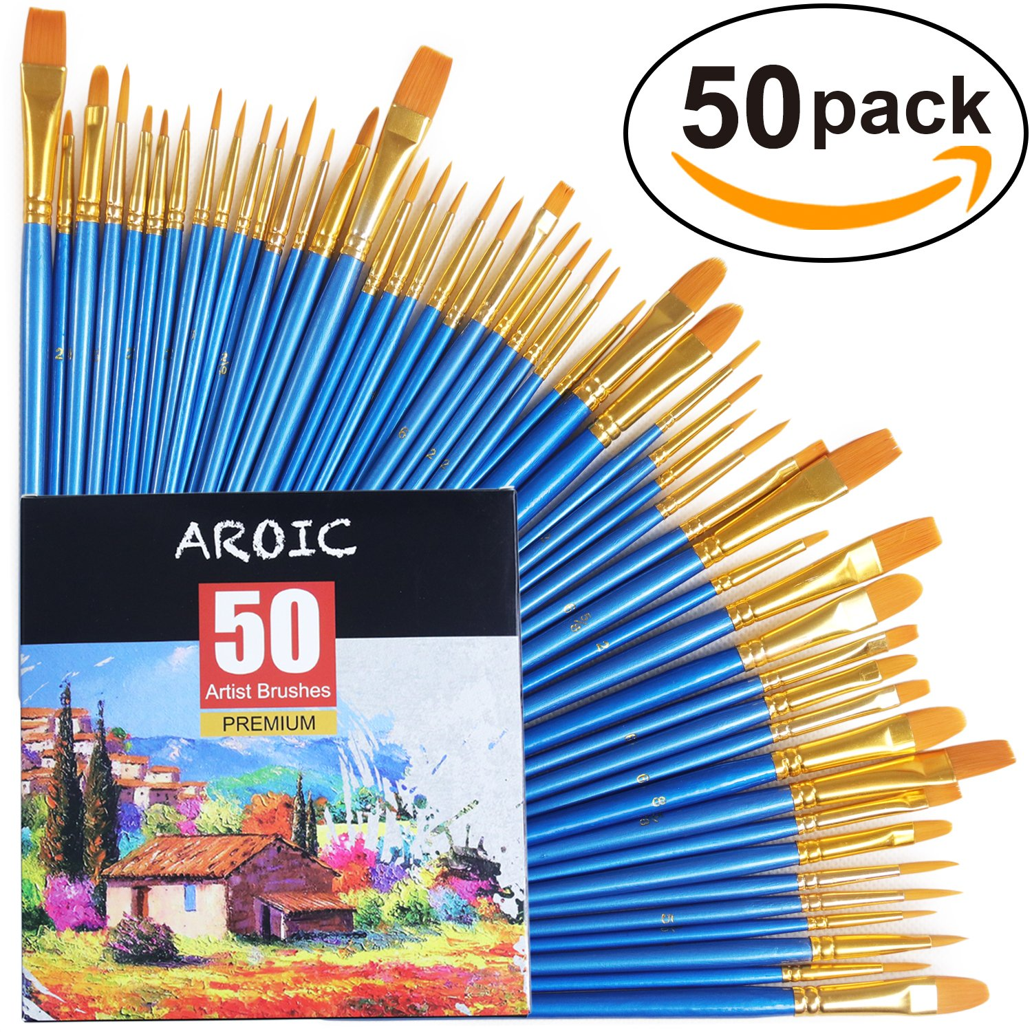 Paint Brush Set, 50 Pcs Nylon Hair Brushes For Acrylic Oil Watercolor Painting Artist Professional Painting Kits by Aroic