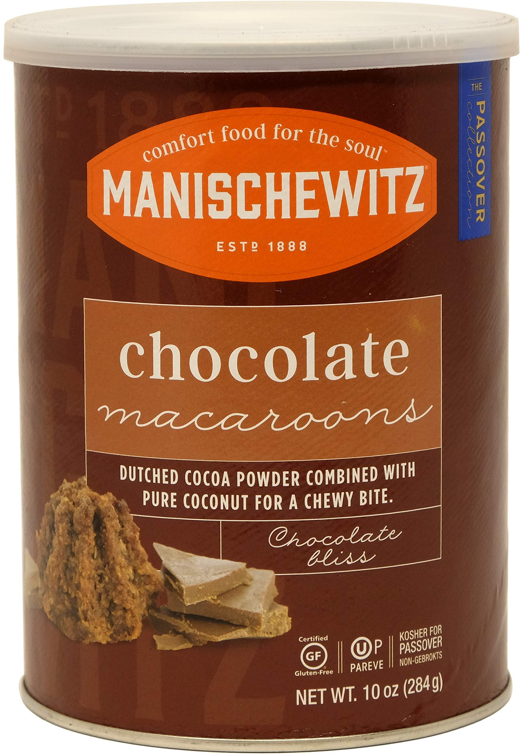 Manischewitz Macaroon Chocolate, Kosher For Passover, 10 Ounce Canister