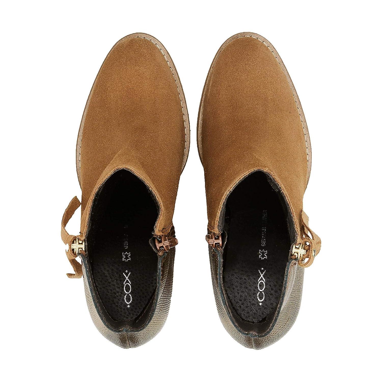 Cox Damen Fashion-Stiefelette aus Leder, Ankle-Stiefel in Braun mit Metallic-Rückseite Metallic-Rückseite Metallic-Rückseite und Block-Absatz ba8768