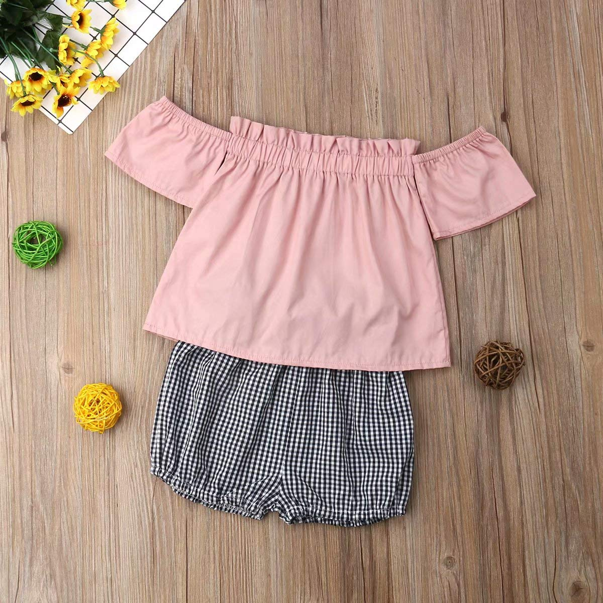 High Waist Plaids Shorts Summer Outfit Kids Toddler Baby Girl 2Pcs Clothes Set Off Shoulder Solid Tops