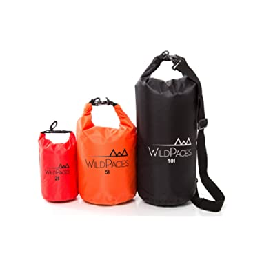 All Purpose Waterproof Dry Bag Set of 3 by WildPaces 10 Litres 5 Litres 2 Litres for Swimming Kayaking Cycling Biking Camping Hiking Beach Boating Skiing