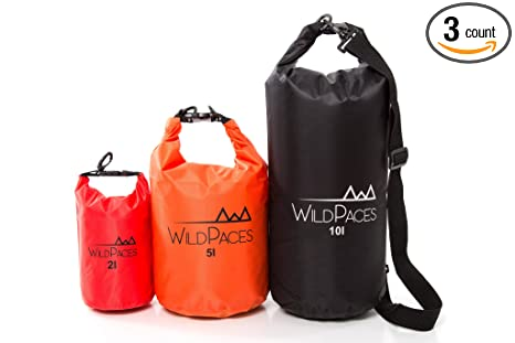 9e0f1aa29816 WildPaces Super Value Set of 3 Waterproof Dry Bags 10L 5L 2L for Swimming  Running Cycling