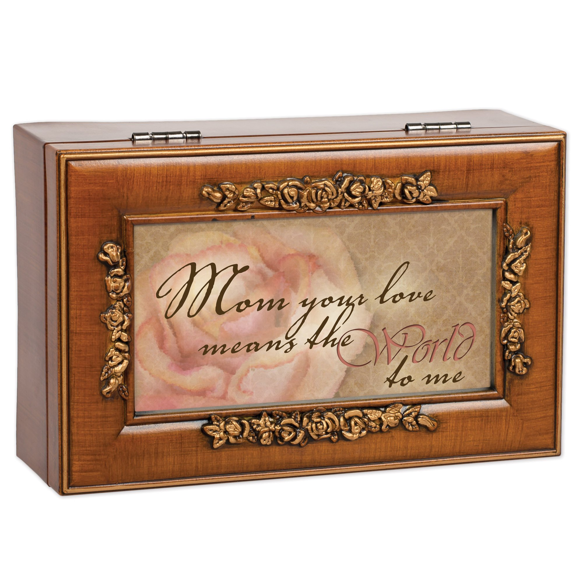Mom Your Love Wood Finish Rose Jewelry Music Box - Plays Tune Wind Beneath My Wings by Cottage Garden (Image #2)