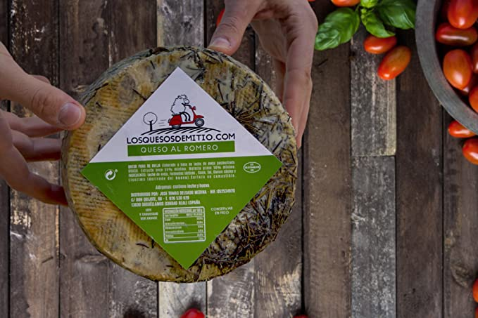 Queso de oveja al romero gourmet con caja de madera premium (español, curado, ideal con vino, queso entero de 2kg de leche pasteurizada), de ...