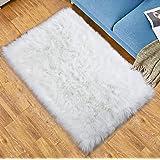 Softlife Fluffy Faux Fur Sheepskin Rugs Luxurious Wool Area Rug for Kids Room Bedroom Bedside Living Room Office Home…