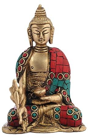 Buddha sitzend aus Messing 24 cm groß