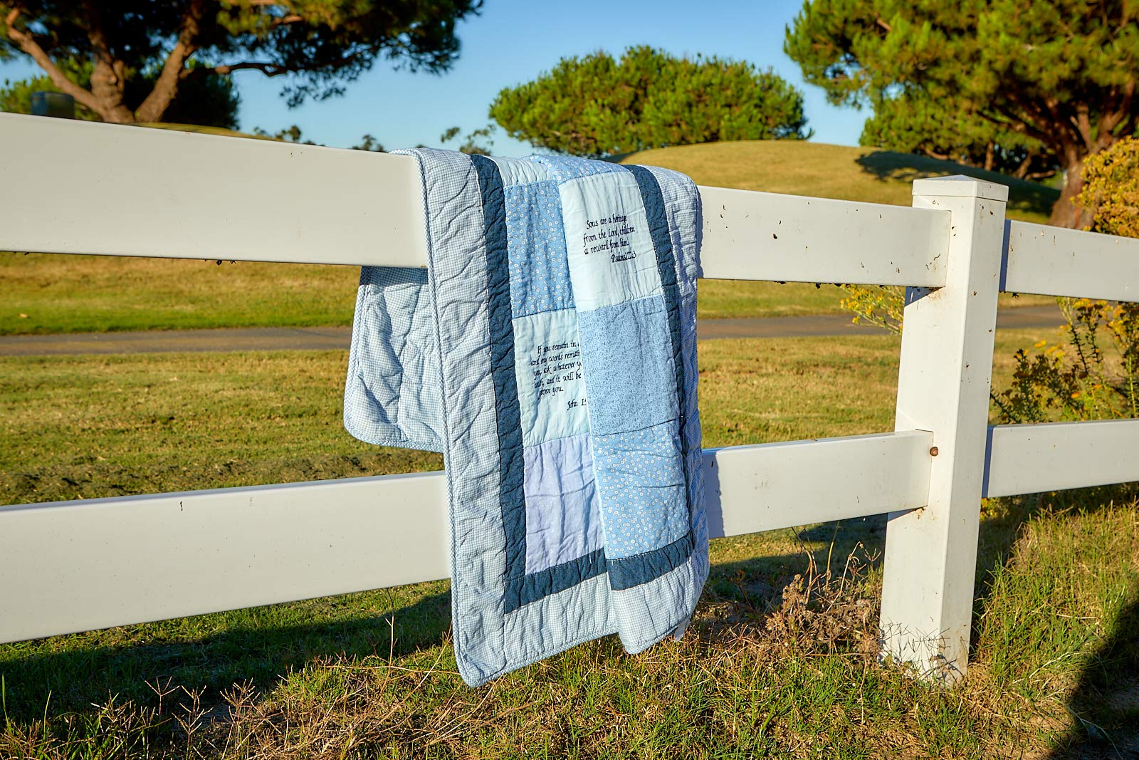 Bible Verse Baby Quilt - Beautiful Cotton Blanket Embroidered with Scriptures - Unique Christian Gifts for Baptism or Baby Shower - Boy by Stuff4Tots