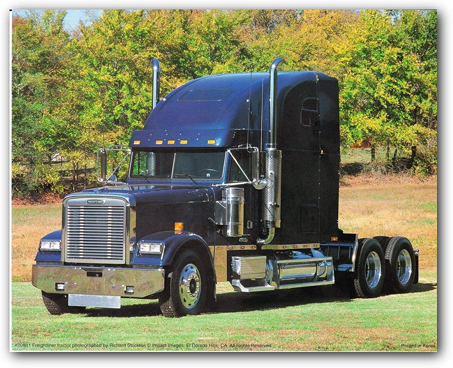 Vintage Truck Picture Freightliner Blue Diesel Old Classic Wall Décor Art Print Poster (16x20)