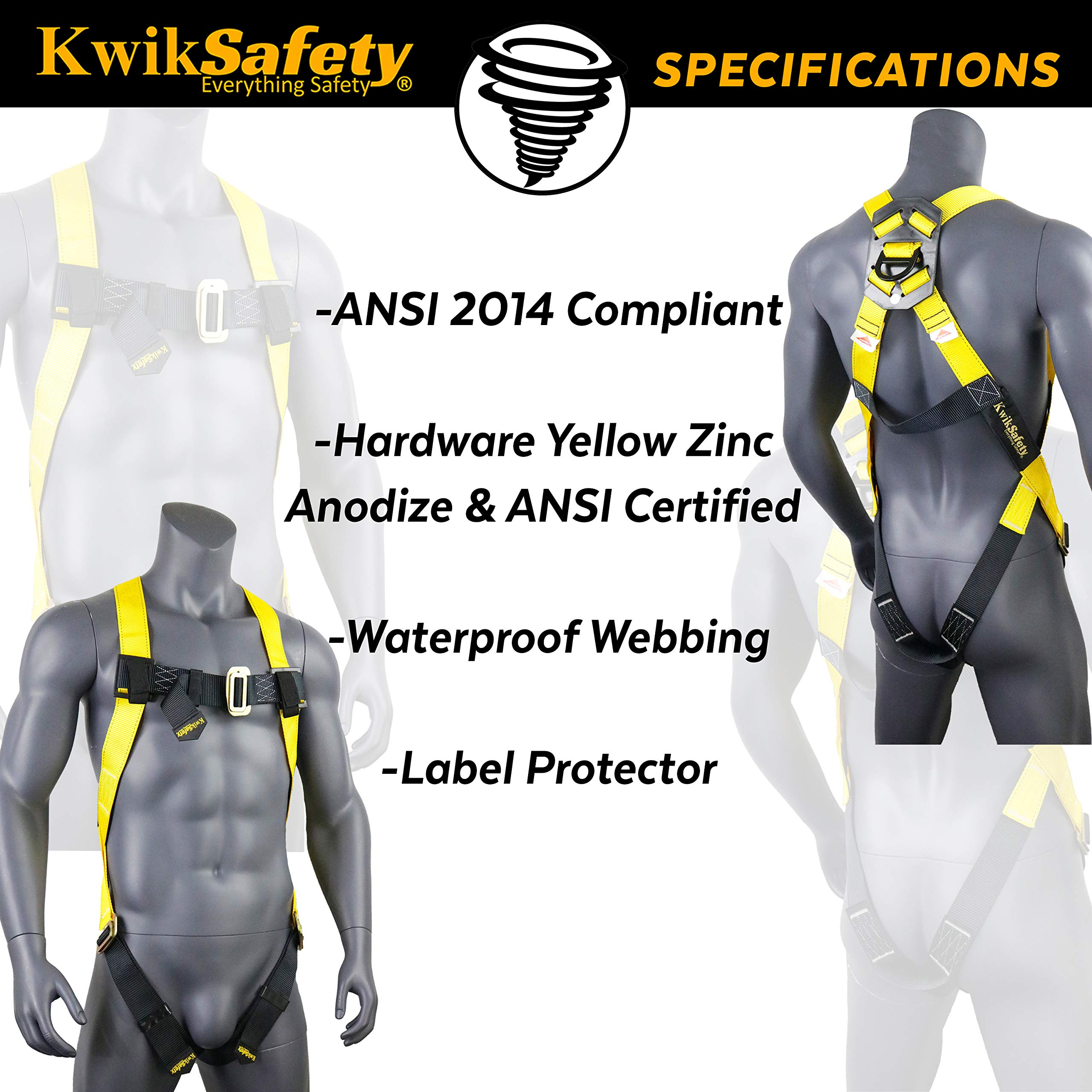 KwikSafety (Charlotte, NC) 4 PACK TORNADO 1D Fall Protection Full Body Safety Harness | OSHA ANSI Industrial Roofing Personal Protection Equipment | Construction Carpenter Scaffolding Contractor by KwikSafety (Image #5)