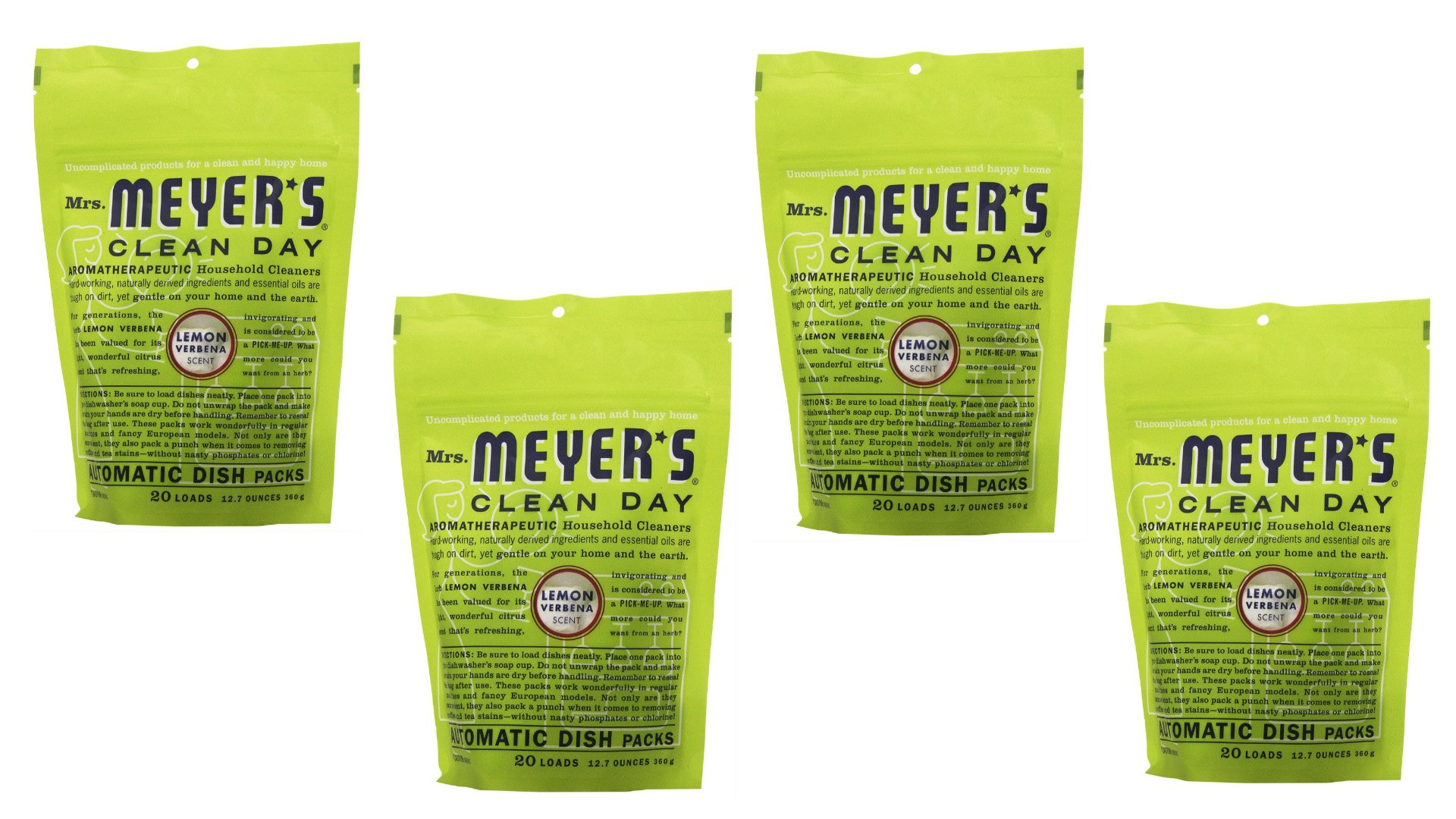Mrs. Meyer's Clean Day Dishwasher Detergent Soap Packs (Pack of 4)