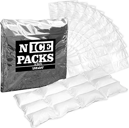 LIVE 2DAY Nice Packs Dry Ice for Coolers - Lunch Box Ice Packs - Dry Ice for Shipping Frozen Food - 120 Ice Packs for Lunch Bags - Reusable Ice Packs - 10 Large Sheets, Long Lasting, Flexible