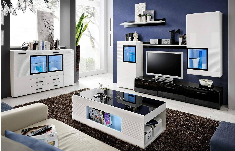 JUSTyou Elde Wohnzimmerset Wohnwand Wohnzimmermöbel Weiß Schwarz