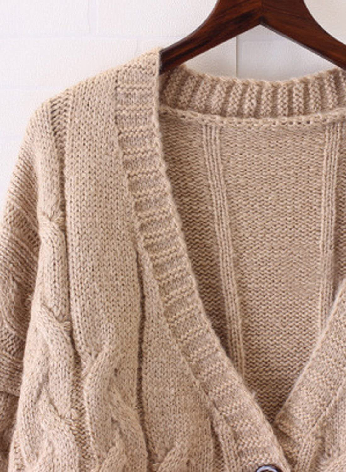 5c73d47647 Futurino Women s Long Sleeve Chunky Aran Cable Knitted Grandad Cardigan  Sweaters at Amazon Women s Clothing store