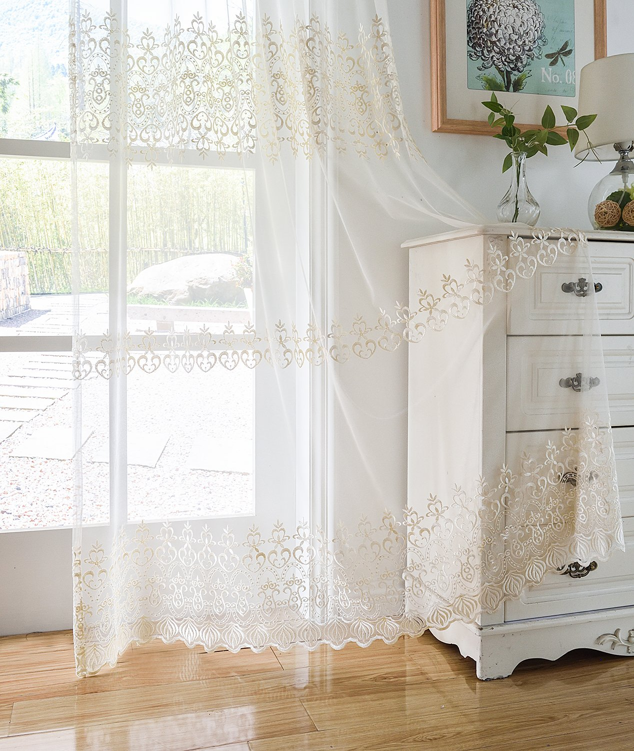 Aside Bside Sheer Curtains Tiny Arrow Embroidered Pattern Relaxed Casual Style Rod Pocket Top For Windows (1 Panel, W 52 x L 63 inch, White 11) -128150752638510C1PGC
