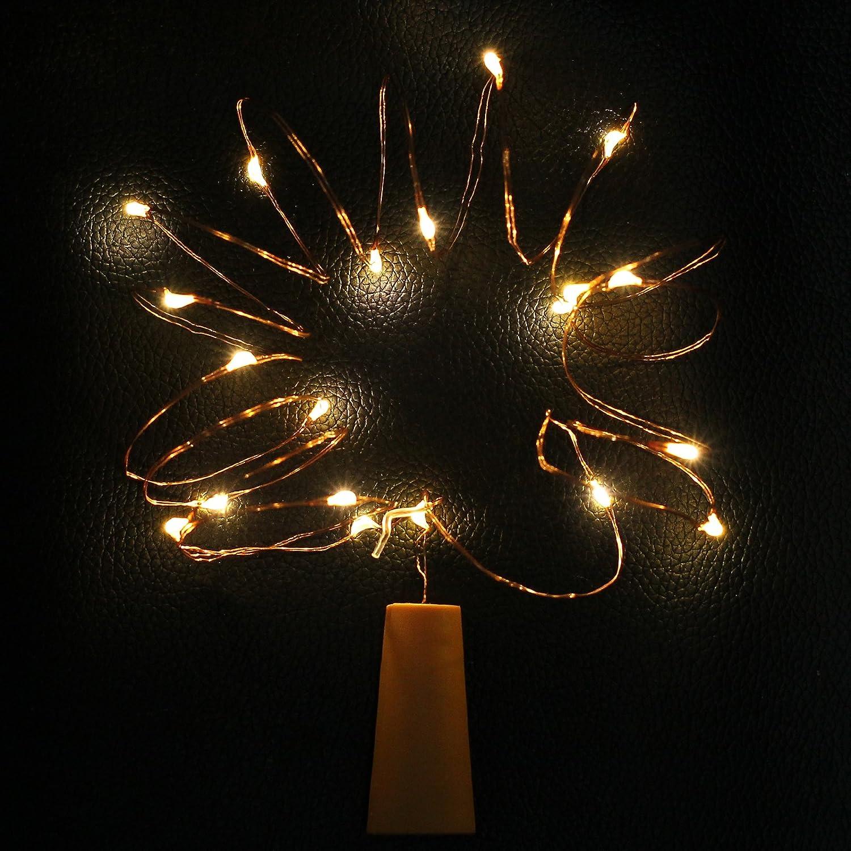 Justech 8PCS Luces de Botellas de Vino con Corcho 2M 20 Leds Luces de Cadena de Hadas de Navidad con Pilas para la Fiesta Boda de Halloween Jard/ín Decoraci/ón Interior y Exterior Fr/ío Blanco